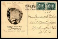 GERMANY HAMBURG STREITS HOTEL OCTOBER 8 1927 AD CARD VERTICAL PAIR TO DC USA
