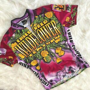 LOUIS GARNEAU Cycling Jersey Medium full zip shirt Wildflower Vintage Rare