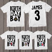 Birthday Boy T shirt Personalised Name Kids Boys Girls Children Birthday T-Shirt