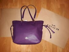 COACH ELLE Signature Blackberry Soft Leather w/Gold Tone Chain Tote Shouler Bag
