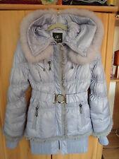 Daunenjacke Jacke mit Echtfell und Kapuze, Flieder/ Lila Gr. S M