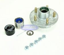 Galvanized Trailer Hub Kit 3500lb 5 Lug Pre Greased Bearings with Trailer Buddy