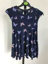 Dark Blue Short Sleeve Summer Dress Age 5 With Purple Butterflies