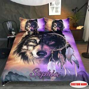 Personalized Wolf Purple Dream Catcher Bedding Set Best Gift