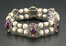 Magnetic Coated Pearl Bead Bracelet Purple Crystal Stretchable Healing Therapy