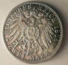 1906 GERMAN EMPIRE (BADEN) 2 MARKS - AU - High Quality Silver Coin - Lot #A4