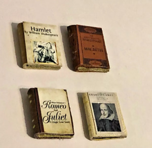 SET OF 4 LEATHER STUDY BOOKS FOR A 1/12 SCALE DOLLS HOUSE