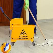 5 Gallon Commercial Mop Bucket Side Press Wringer on Wheels Cleaning 20L Yellow