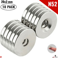 10pc N52 20x3mm 34 Super Strong Powerful Neodymium Magnet Round Disc 5mm Hole