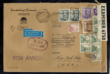 1942 Barcelona Spain Oversize Dual Censored Cover to USA Paramount Pictures