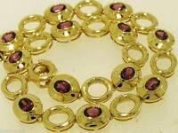 Gorgeous Genuine 9ct Yellow Gold NATURAL Rhodolite GARNET Line Bracelet Tennis
