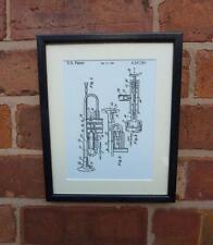 USA Patent Drawing BRASS TRUMPET Music Instrument MOUNTED PRINT 1981 Xmas Gift