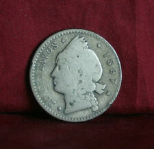 Dominican Republic 1897 20 Centavos Silver World Coin KM14 Central America