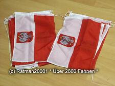 Fahnen Flagge Flaggenkette Polen mit Adler 15 Fahnen