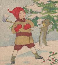 Child Chopping Down Tree Ax Christmas Postcard