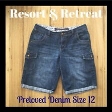 Denim Festival Summer Shorts, Size 12, Preloved, Dark Blue, Great Cond.