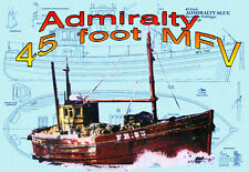 Model Boat Plan RADIO CONTROL 1: 20 Scale Admiralty 45 foot MFV F/S Printed Plan