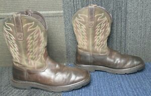 Mens ARIAT Groundbreaker Square Toe Soft Toe Leather Work Boots sz 8.5 EE