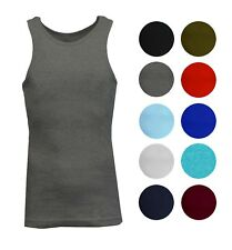 Mens Fitted Tank Tops Ribbed Shirts Muscle Sleeveless Gym Beach Undershirts NEW