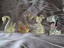 4 Vintage Lucite Animal Figures