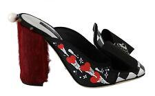 DOLCE & GABBANA Shoes Red Xiangao Fur Crystal Mules Slides EU38.5 /US8 RRP $1200