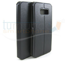 Funda soporte de piel negra para Samsung Galaxy S8 Plus Flip libro