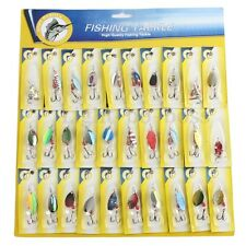 Lot 30pcs Metal Fishing Lures Spinner Baits Crankbait Assorted Fish Hooks Tackle