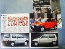 AUTO992-RITAGLIO/CLIPPING/NEWS-1992-FIAT CINQUECENTO - 3 fogli