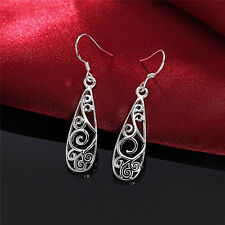 Women Simple Jewelry Bohemia Fashion Silver Hollow Carved Water Drop Earrings Z