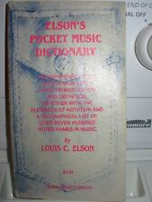 Music Dictionary-pocket size book-Elson's