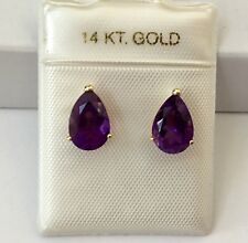 NEW 14K Yellow Gold Natural Amethyst Gemstone Pear Shape Stub Earrings