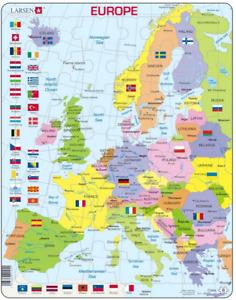 Map of Europe with Flags, Portrait-Frame/Board Jigsaw 29cm x 37cm (LRS K2)