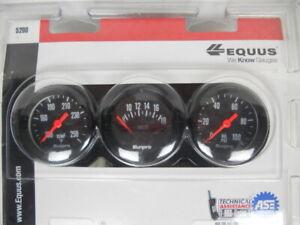 Equus 5200 Sunpro Triple Gauge Set Black w/ White Display Temp °F Volts Oil PSI