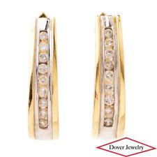 Estate Diamond 14K Two-Tone Gold Oval Hoop Earrings NR