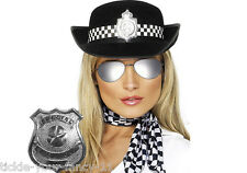 WOMENS POLICE WOMAN FANCY DRESS BADGE SCARF GLASSES & HAT LADIES POLICEWOMAN COP