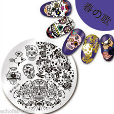 Nail Art Stamping Plate SKull Rose Image Manicure Template Harunouta-28