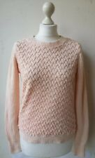 Red Herring Jumper UK10 EU38 pink cable knit faux fur long sleeve BNWOT