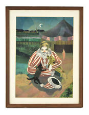 Circa 1950's Color Paper Collage Clown with Puppy Dog signed Larson
