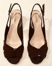 9193187f68 Ellen Tracy Black w/ Brown Accent Slingback Open Toe Wedge Heels - 9 1/