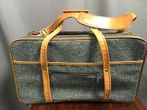 Hartmann Blue Tweed Leather Trim Weekender Travel Bag Vintage Suitcase