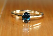 .14ct 14k Yellow Gold Teal Blue Sapphire Natural Untreated Oval Solitaire Ring O