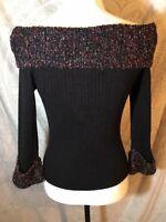 Pine Cove Women's Black Sweater Size S Sweater 3/4 Sleeves Cowl Neck W/ Metallic