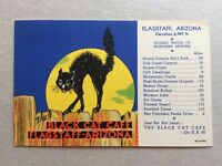 The Black Cat Cafe Postcard Flagstaff Arizona w/ Scary Halloween Cat on Fence