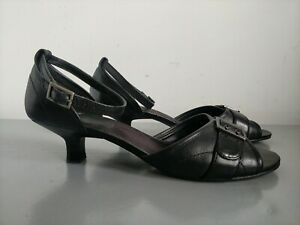 Clarks Black Leather Open Toe Ankle Strap Low Heel Sandals with Buckle Size UK 7