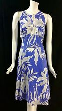 Maggy London Women's Size 14 Blue White Floral Sleeveless Fit & Flare Dress T22