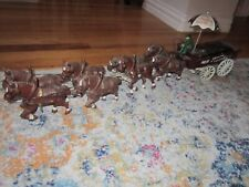 "VTG CAST IRON TEAM OF 8 HORSES WITH ""FRESH FRUIT & VEGETABLES"" CART 26"" HEAVY"