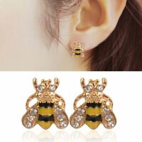 Lovely Enamel Rhinestone Bumble Bee Crystal Earrings Animal Ear Stud Jewelry