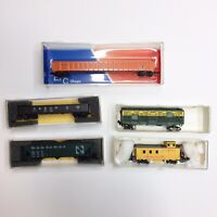 N Scale Lot Of 5. UP Caboose, Northwestern Cattle Trailer, Freight, Coal