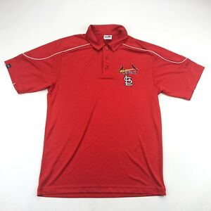 St Louis Cardinals Majestic Mens Red Short Sleeve Polo Shirt Medium