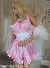 Sian Ravelle Bullet Bra Pink White Satin Lined Vtg Romper Suit French Knickers L